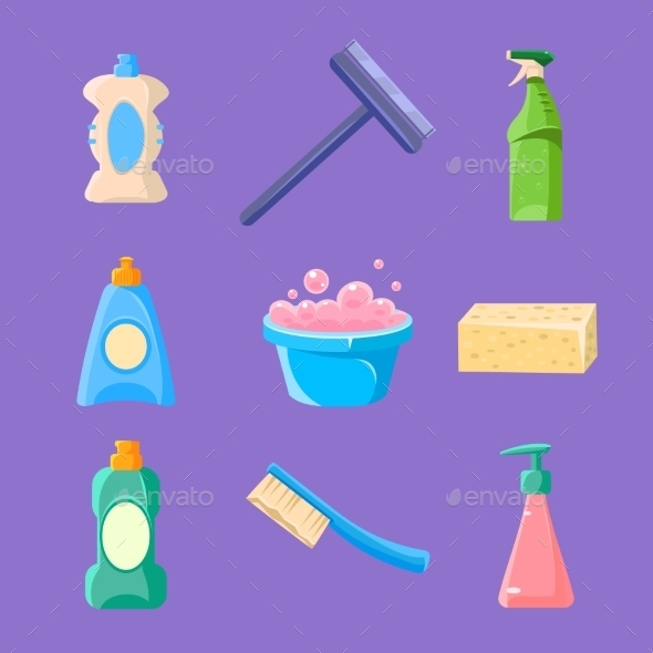 Cleaning and Housework Icons Collection - Web Elements Vectors