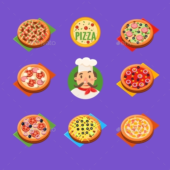 Pizza Icons Vector Set - Food Objects