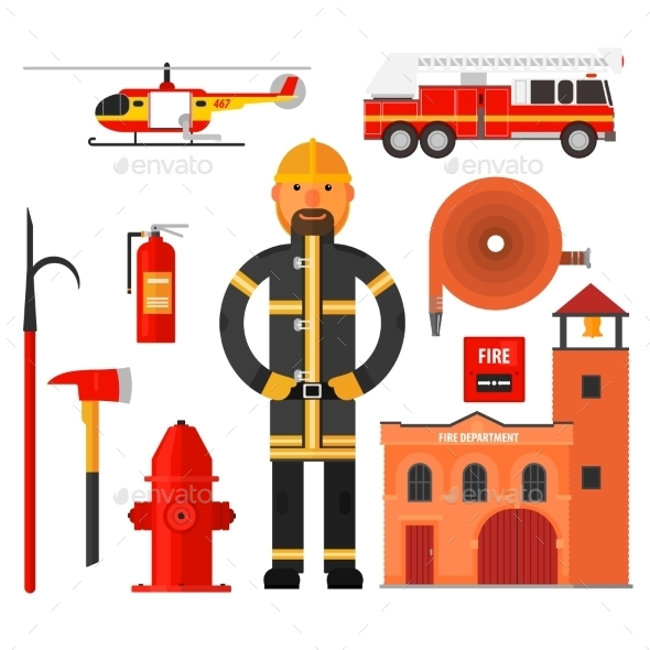 Firefighting Character Flat Style.  - People Characters