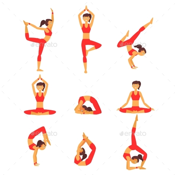 Yoga Illustration Healthy Lifestyle - Sports/Activity Conceptual