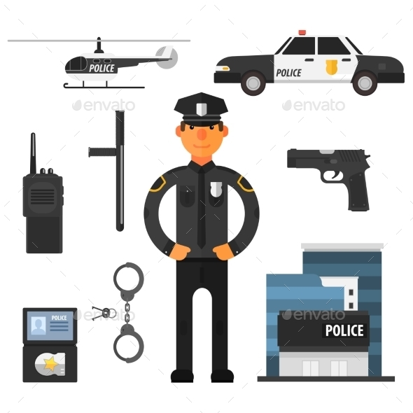 Policeman, Police Department Flat Style. Elements - People Characters