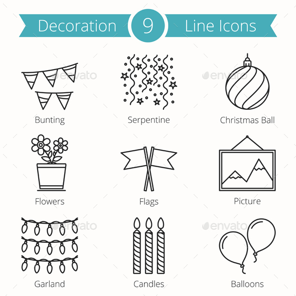 9 Decoration Objects Line Icons - Man-made objects Objects