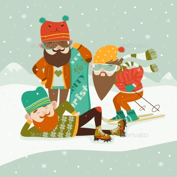 Hipsters with Ski and Snowboard - Sports/Activity Conceptual