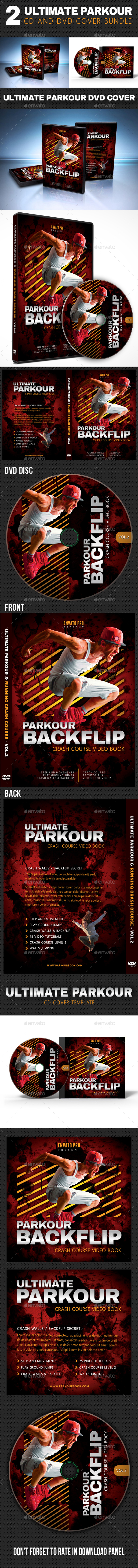 2 in 1 Ultimate Parkour CD and DVD Cover Bundle 02 - CD & DVD Artwork Print Templates
