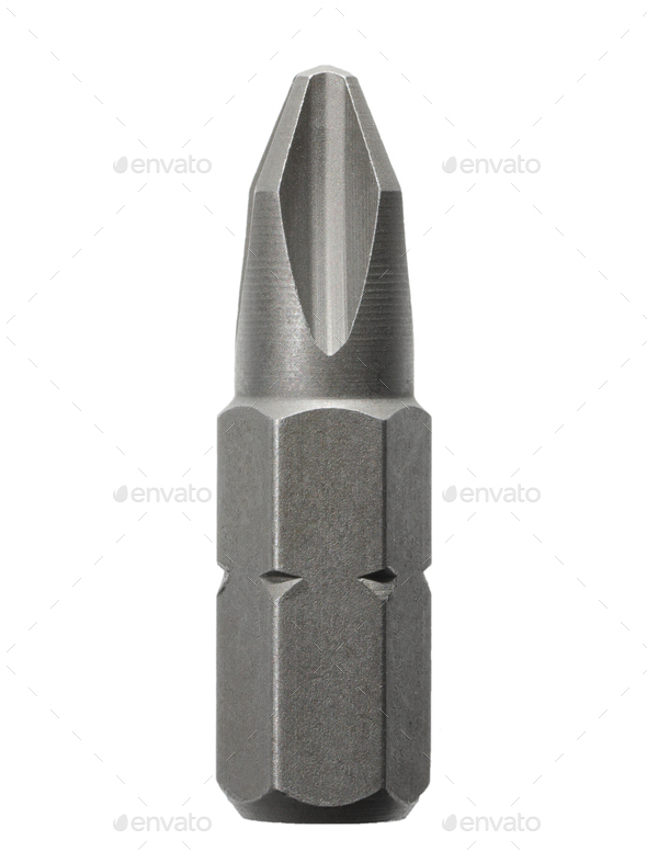 screwdriver bit on white background - Stock Photo - Images