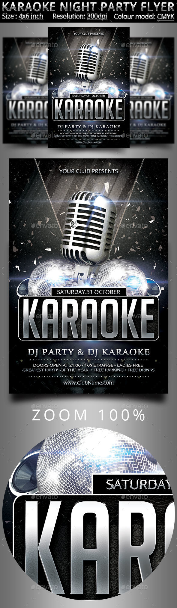 Karaoke Night Party Flyer - Clubs & Parties Events
