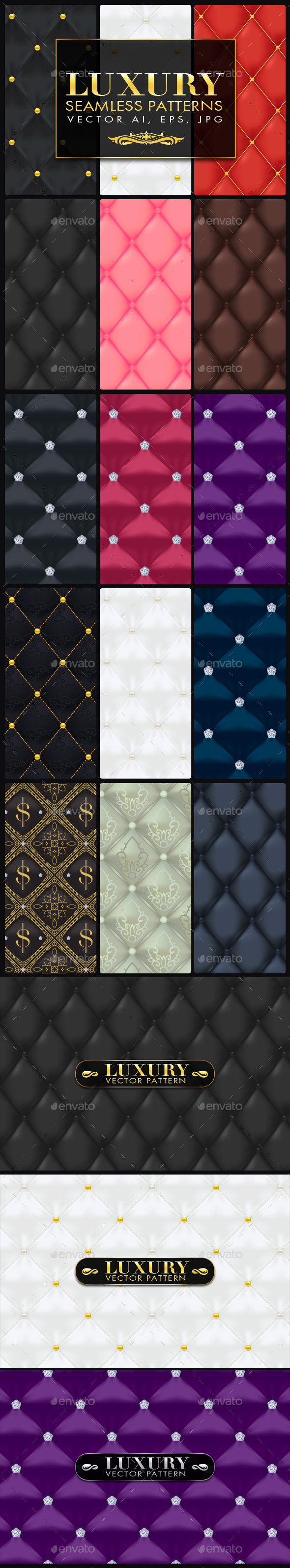 15 Luxury Quilted Seamless Vector Patterns - Patterns Decorative