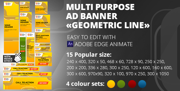 HTML5 Banner «Geometric line» 15 sizes, 4 colours - CodeCanyon Item for Sale