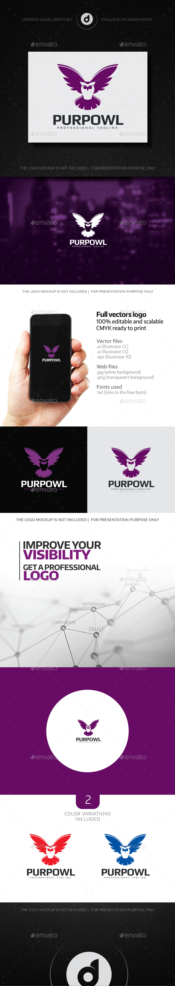 PurpOwl Logo - Animals Logo Templates