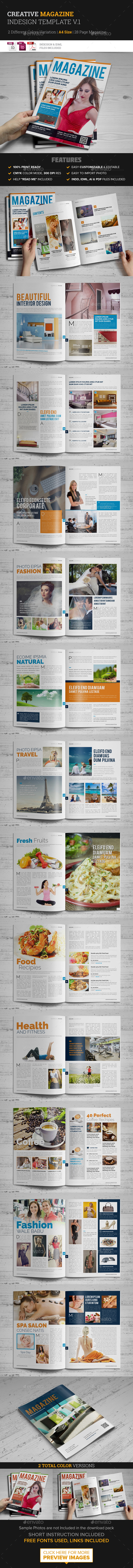 28 Page Magazine InDesign Template v1 - Magazines Print Templates