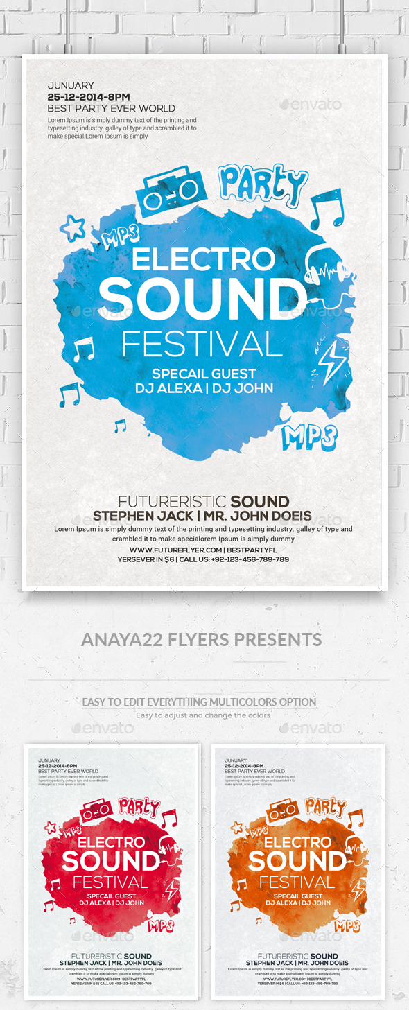 Electro Music Flyer Psd - Clubs & Parties Events