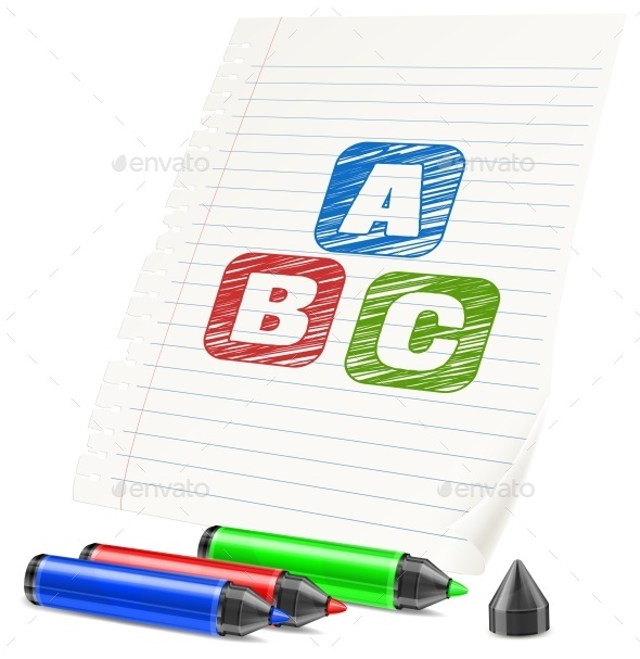 Color Markers and Letters on Paper Sheet  - Concepts Business
