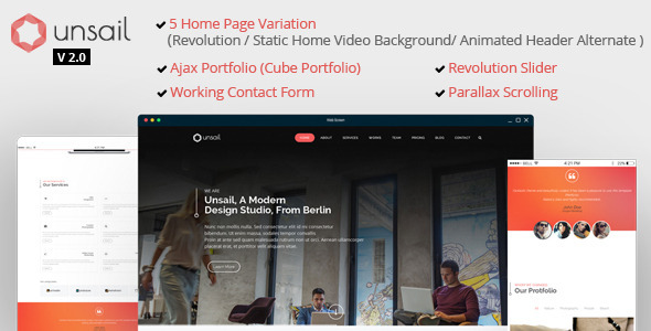 Unsail : One Page Parallax Html Template - Business Corporate