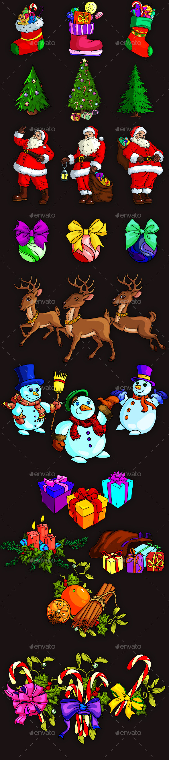Christmas Happy Trio Icons - Christmas Seasons/Holidays