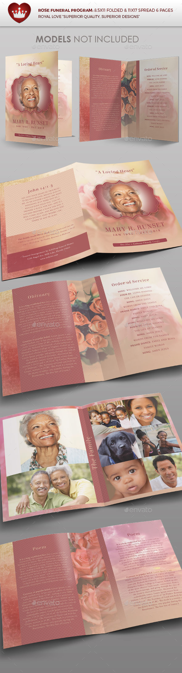 Rose Funeral Program Template - Brochures Print Templates