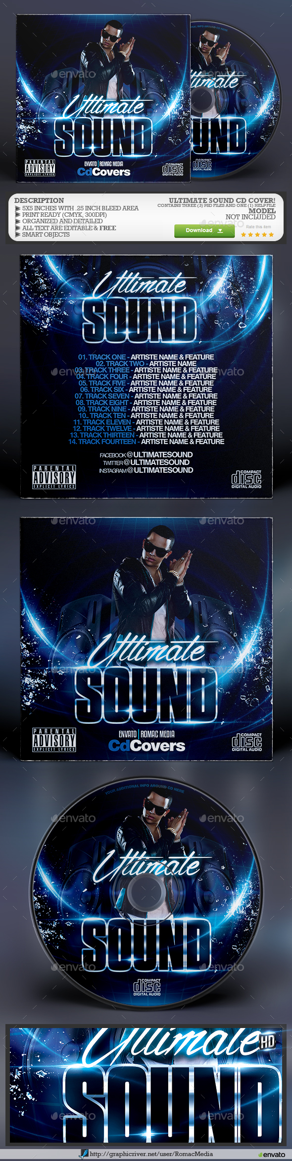Ultimate Sound CD Cover - CD & DVD Artwork Print Templates