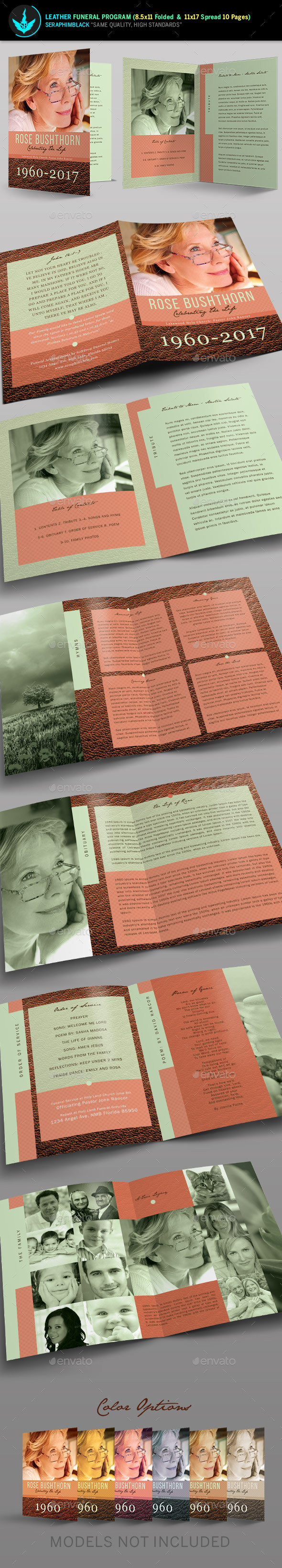 Leather Funeral Program Template 3 - Informational Brochures