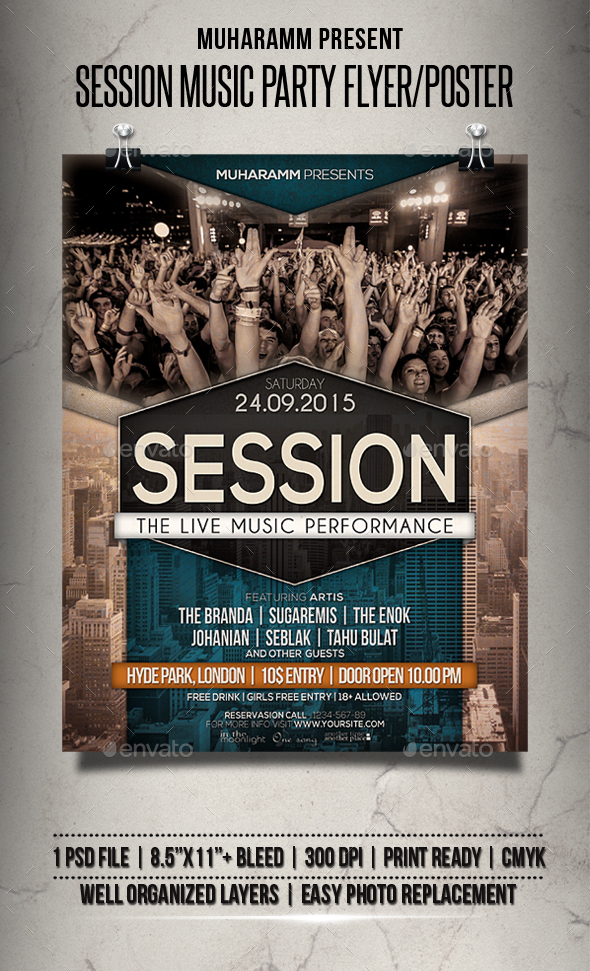 Session Music Party Flyer / Poster - Clubs & Parties Events