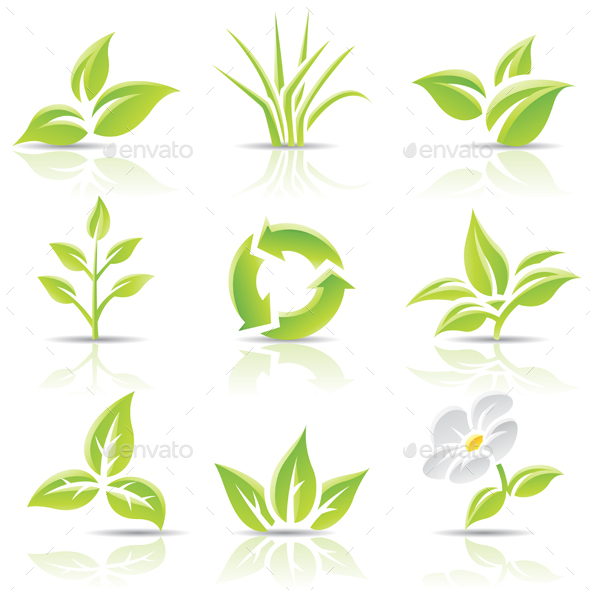 Green Glossy Leaves Icons - Icons
