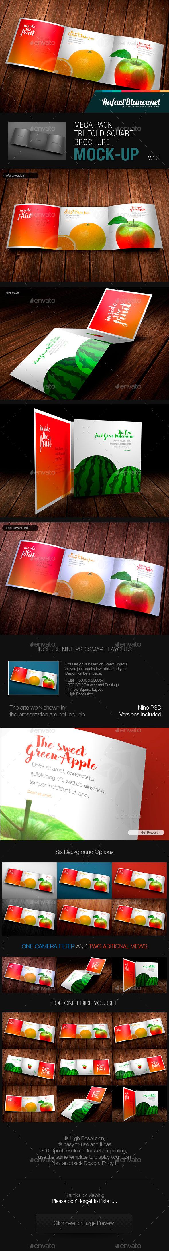 Mega Pack Tri-Fold Square Brochure Mock-up - Product Mock-Ups Graphics