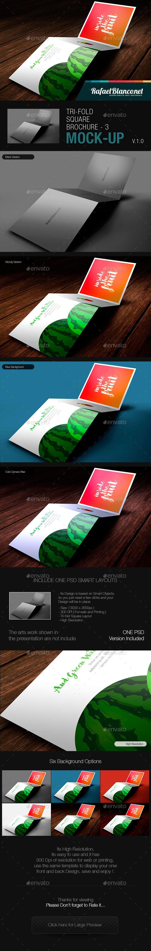 Tri-Fold Square Brochure Mock-up - 3 - Product Mock-Ups Graphics