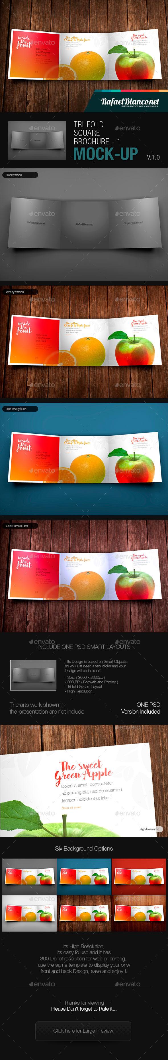 Tri-Fold Square Brochure Mock-up - 1 - Brochures Print