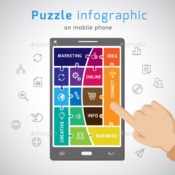 Puzzle Infographic template on mobile phone - Infographics