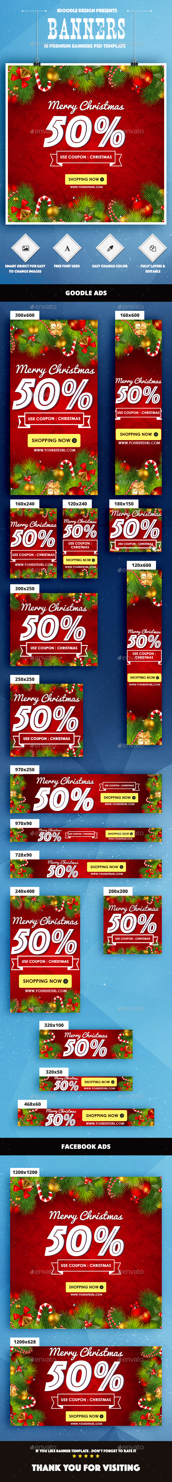Christmas Banners Ad - Banners & Ads Web Elements