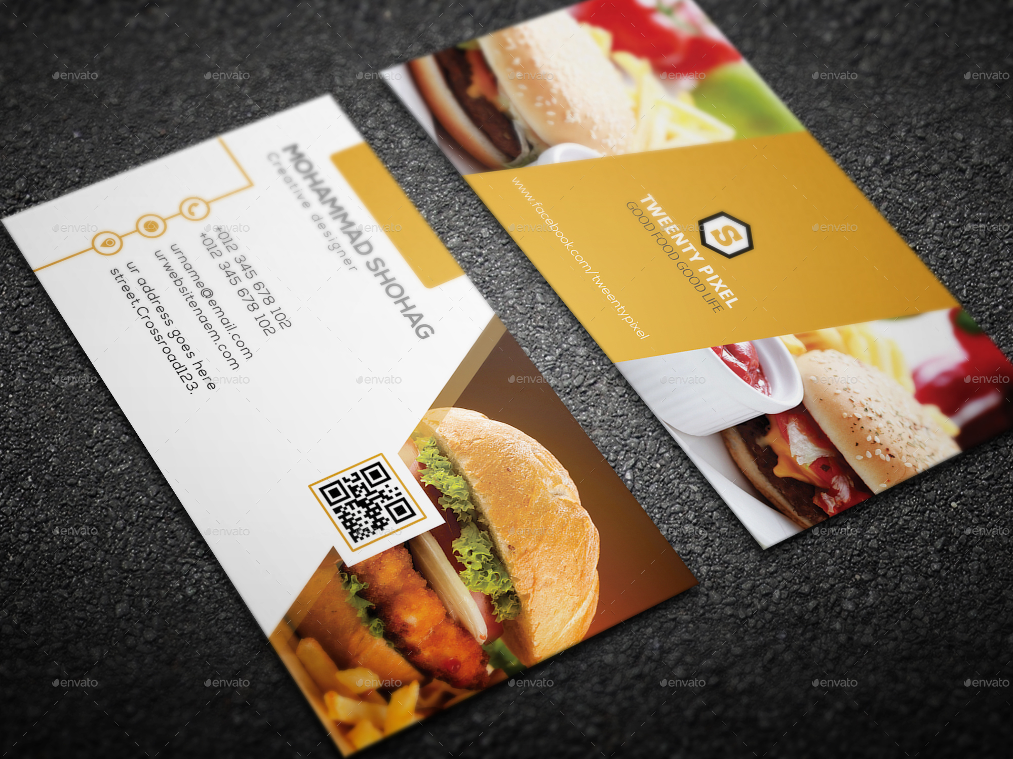 Simple restaurant business card by shohag4y graphicriver simple restaurant business card business cards print templates yellow 1g yellow 2g yellow 3g colourmoves