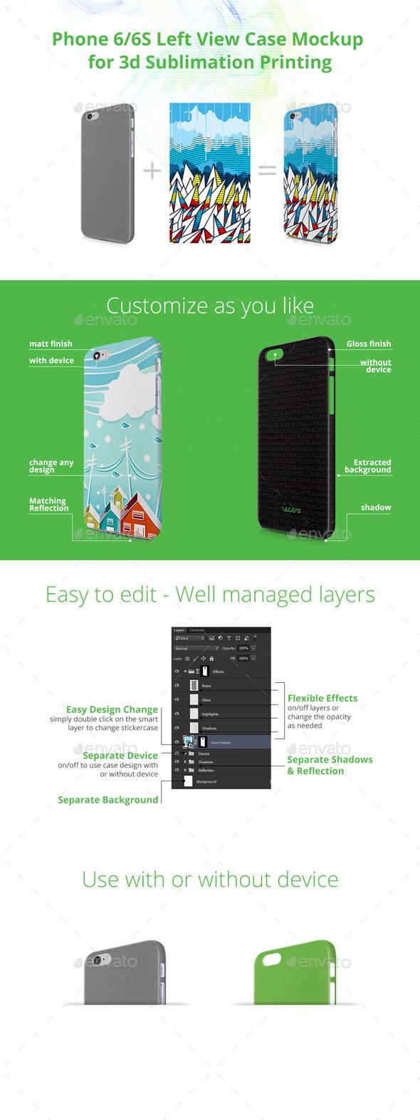 Phone 6/6S Case Design Mock-up for 3d Sublimation Printing - Left View - Mobile Displays