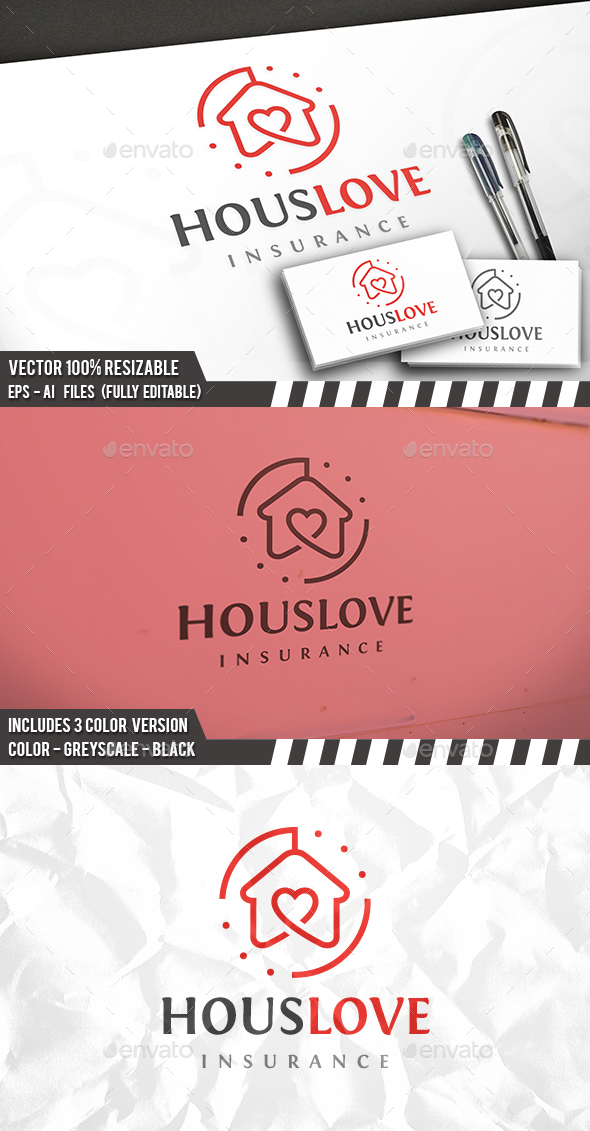 House Love Logo - Buildings Logo Templates