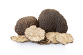 Black truffles group and slices on white, clipping path - PhotoDune Item for Sale