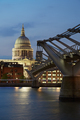 St Paul's cathedral and Millennium bridge in London