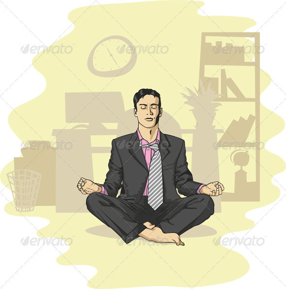 Vector Businessman in Lotus Pose - People Characters