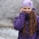 Little Girl Talking On The Phone In Winter Outdoor - VideoHive Item for Sale