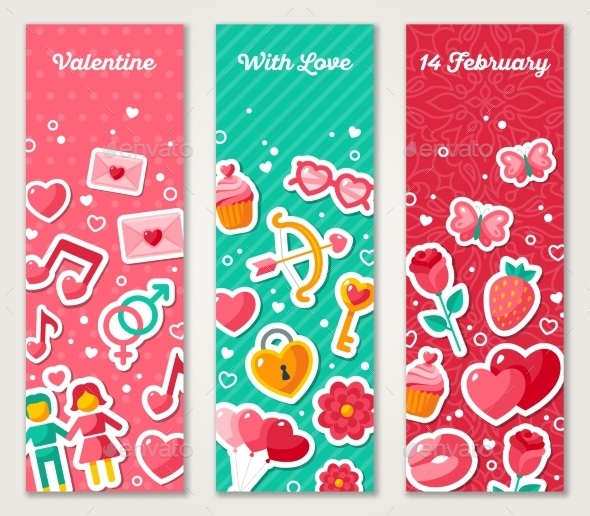 Valentines Vertical Banners Set With Flat Icons - Valentines Seasons/Holidays