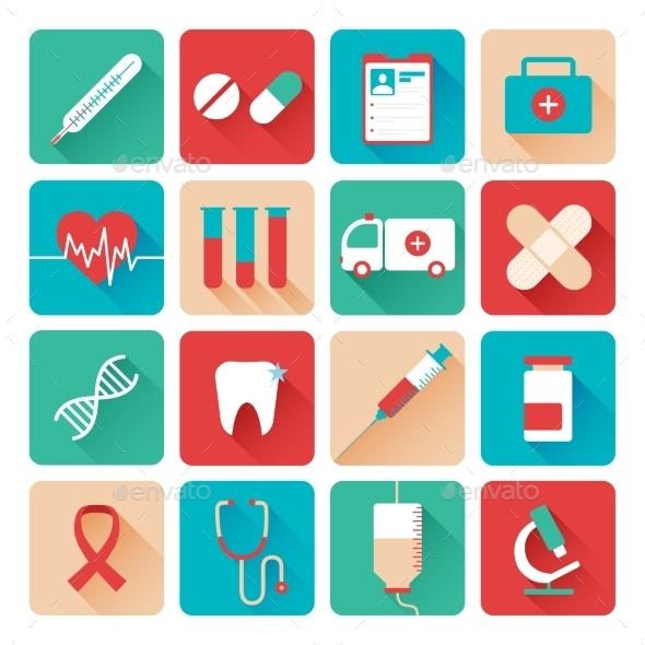 Medicine Icons Set Flat  - Objects Icons