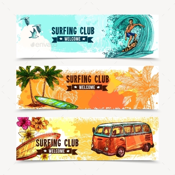 Surf Banner Set - Sports/Activity Conceptual