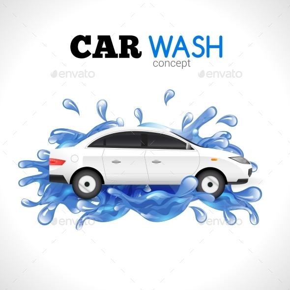 Car Wash Concept - Conceptual Vectors