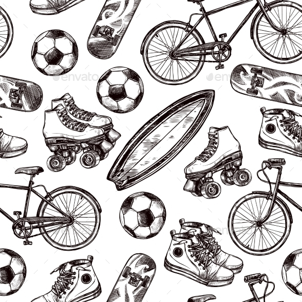 Active Recreation Seamless Pattern - Sports/Activity Conceptual