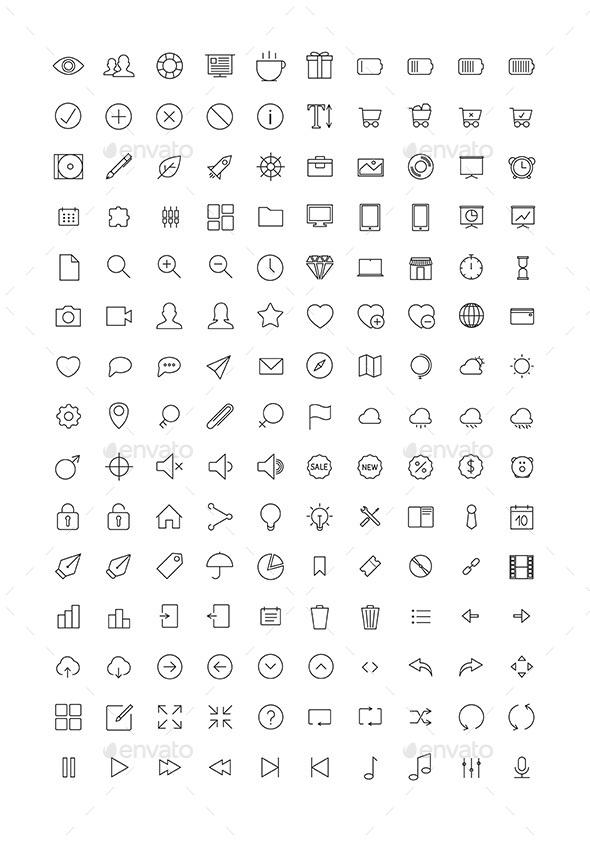 150 Thin Line Icons - Web Icons