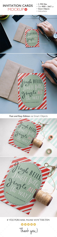 Invitation Card Mockup v.2 - Product Mock-Ups Graphics