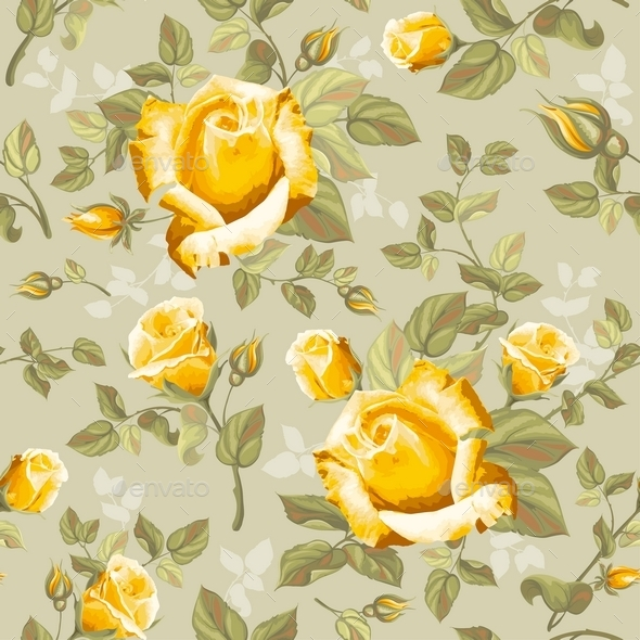 Retro Flower Seamless Pattern - Roses - Decorative Vectors