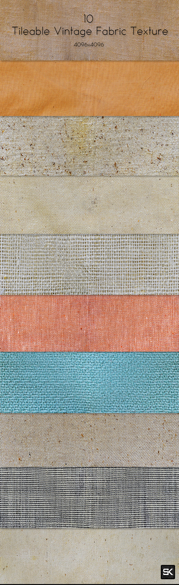 10 Tileable Vintage Fabric Texture - Miscellaneous Textures / Fills / Patterns