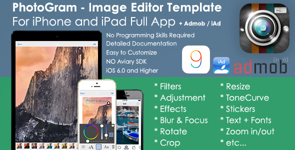 PhotoGram Image Editor iOS Template + AdMob/iAd - CodeCanyon Item for Sale