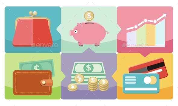Dollar, Purse, Coin Box Pig Icons - Concepts Business