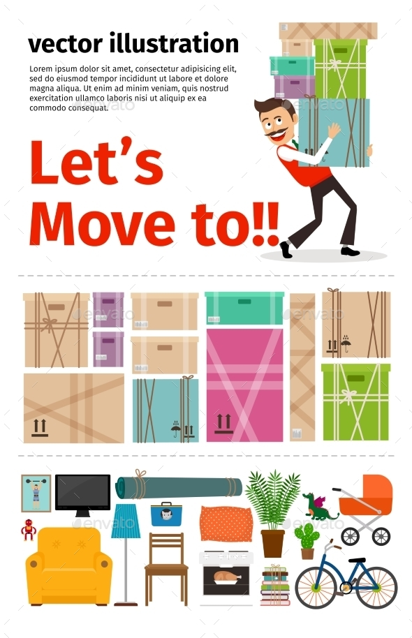 Moving Into New Apartment Infographics - Retail Commercial / Shopping
