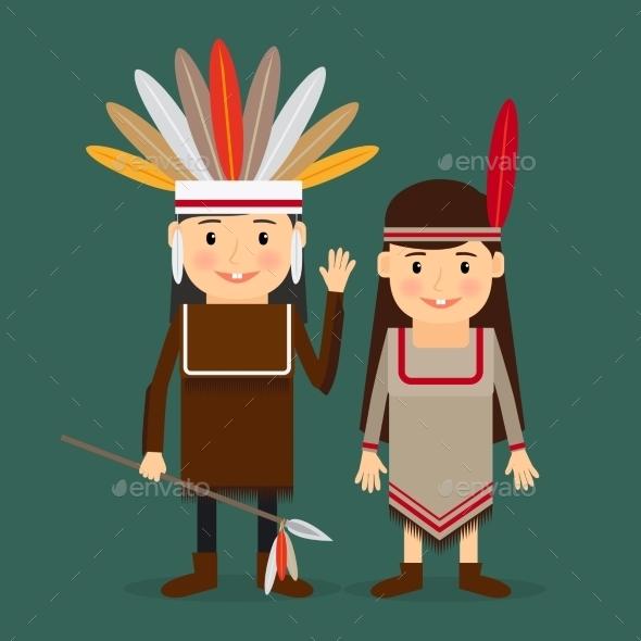 American Indians Children Vector - People Characters