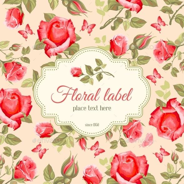 Retro Flower Card- Roses - Decorative Vectors