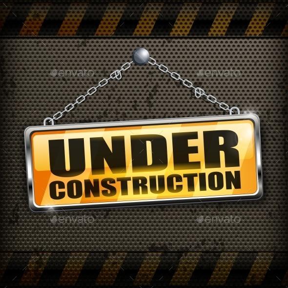 Under Construction Sign Black - Miscellaneous Vectors